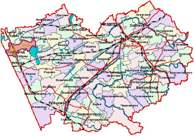 Алтайский край - Карта районов и городов