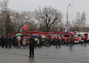 Парад пожарной техники в Барнауле
